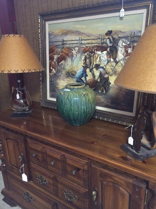 Dresser; Western art; cool cowboy style lamps; green pottery vase