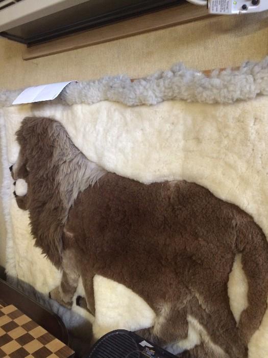 "Leather ""lion"" rug"