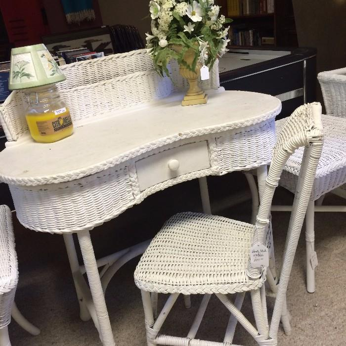 White wicker antique desk and chair from a Greenbriar Lake estate