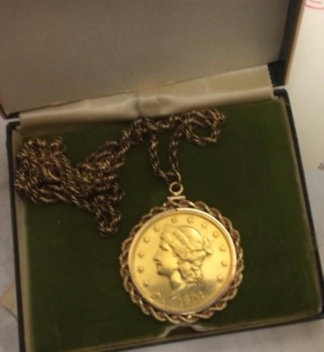 $20 gold coin necklace (appraised at $3100)