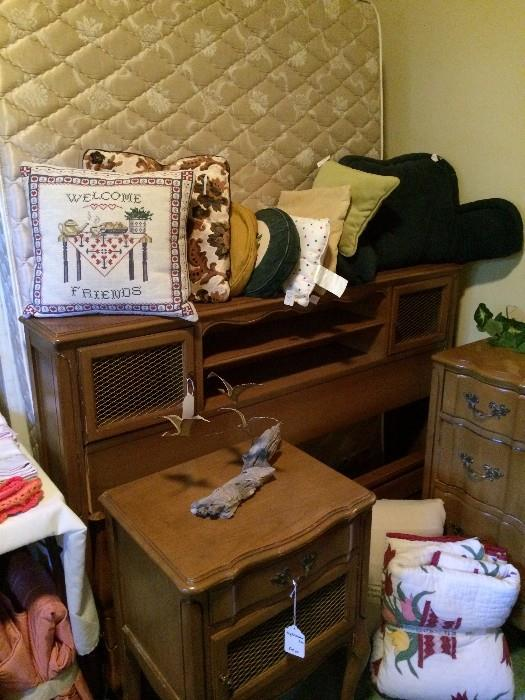 Fruitwood provincial bed with matching nightstand and dresser