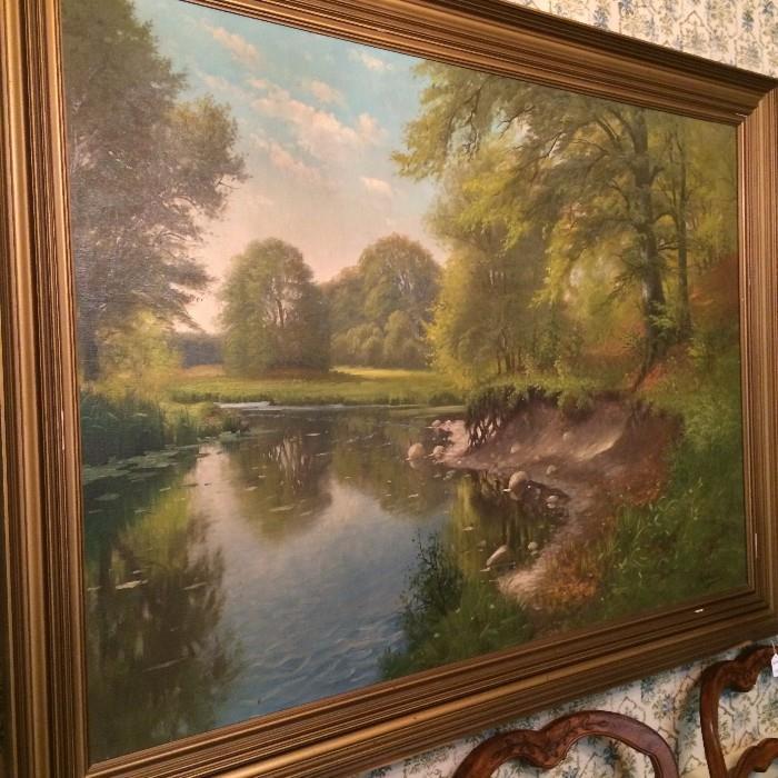 Framed oil painting