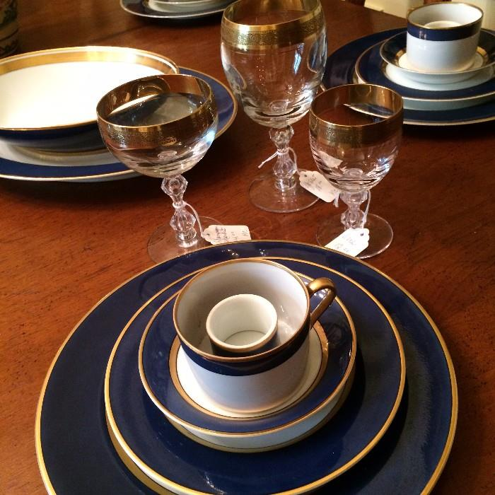 Gold trimmed dishes and stemware