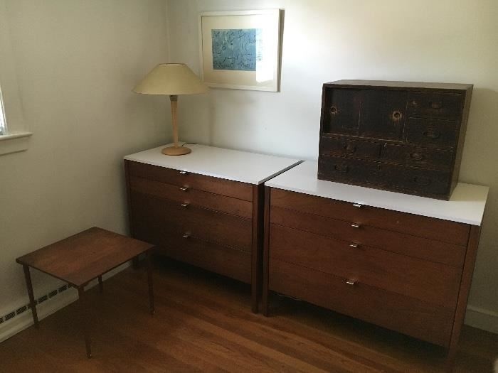 Knoll MCM chests, White laminate top.