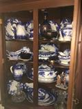 Large collection of Flow Blue china