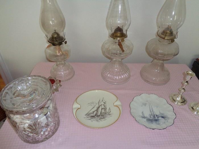 Collection of hurricane lamps