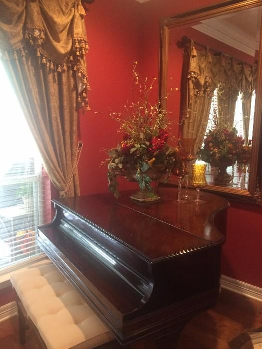 Lyon & Healy baby grand piano; gorgeous framed mirror