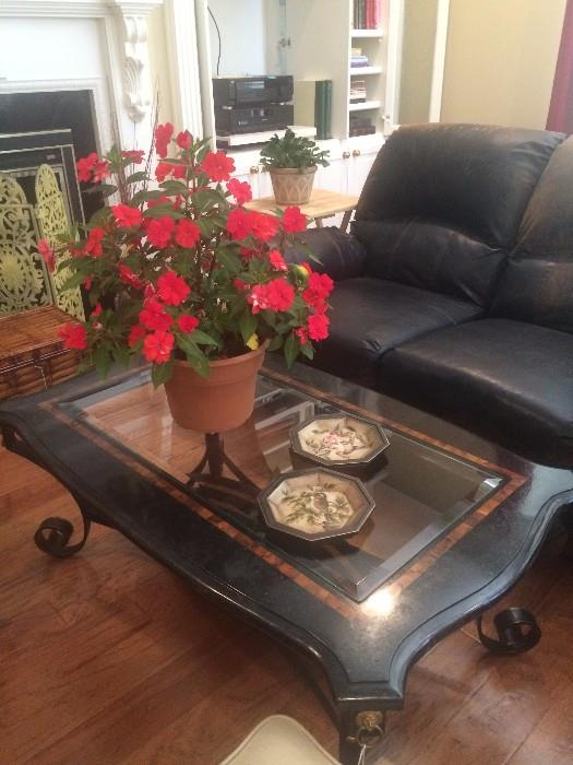 Marble & glass coffee table with iron bass; leather love seat; decorative fire screen