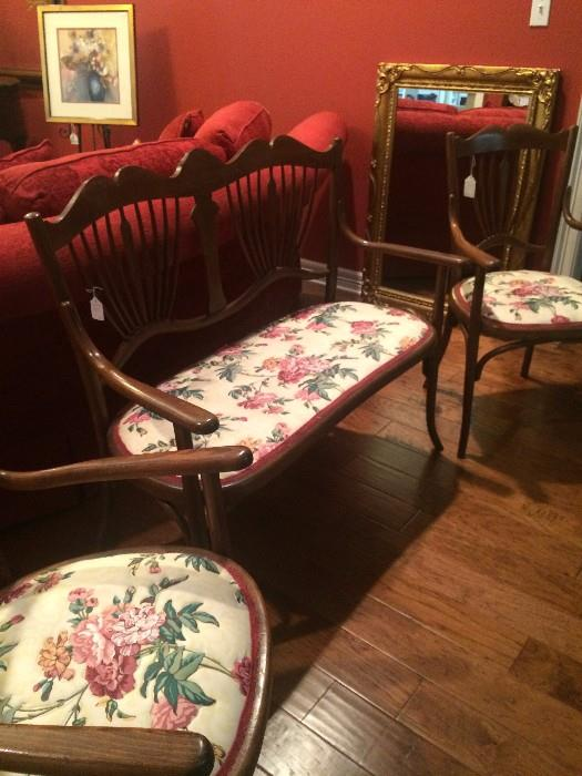 Antique settee with two matching chairs
