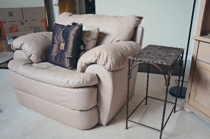 Oversized Armchair, Metal End Table, Throw Pillows