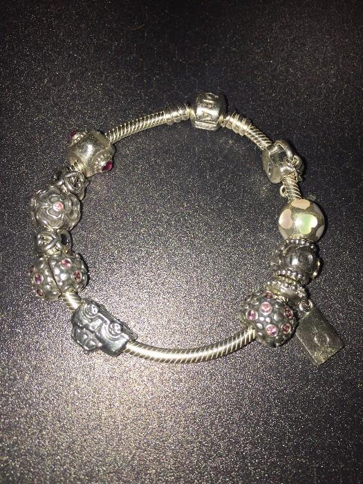 AUTHENTIC PANDORA BRACELET WITH CHARMS, CLIPS AND SPACERS
