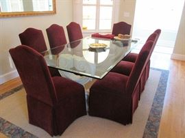 Parsons Chairs w Beveled Glass Top Pair Pillars Table from Ballard