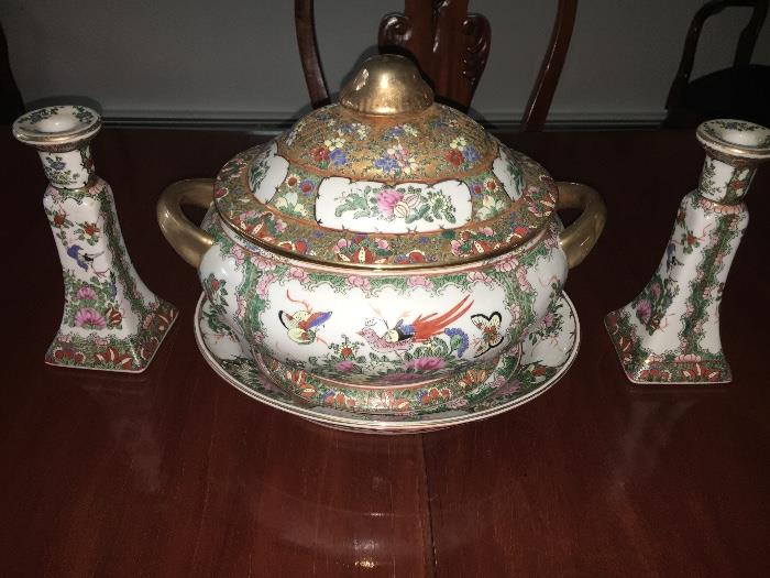 Elegant accent pieces, vintage China, soup tureen and matching candle sticks