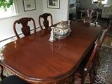 Spectacular Carved Dining Room Table with Chairs