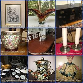 Vintage Chinese Famille Rose Medallion Jardiniere, Original Picasso Litho, Vintage Murano, Antique Chinese Furniture, Kenji Fujita dinnerware, Chinese Ancestor Portraits --- just some of the fantastic items in this eclectic collection!