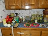 Candles, glasses, cups, plates, candle stands, pot rests, lazy susan