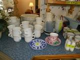 Set of dishes, plastic ware, cups, cup/saucer sets, miscellaneous kitchen