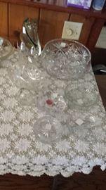 large watwerford bowl, cut glass