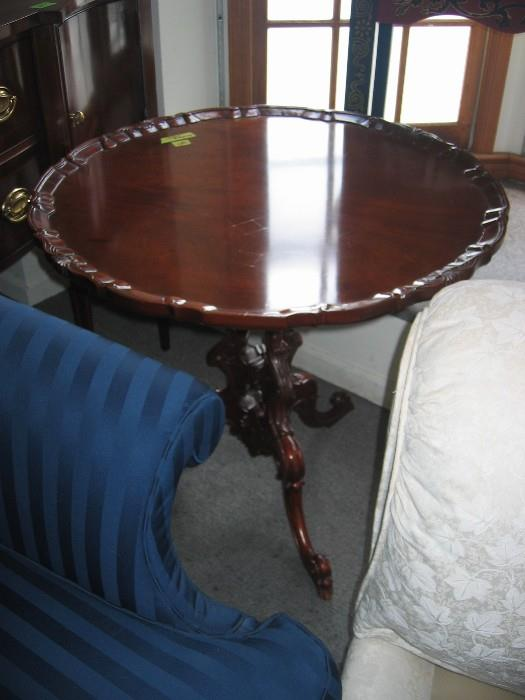 Pie crust table made by Hickory Chair.