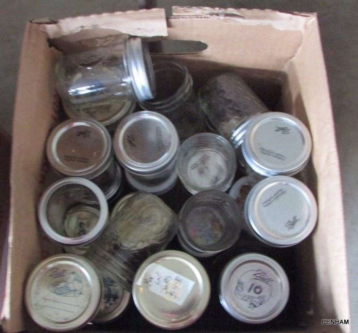 Box lot of small canning jars