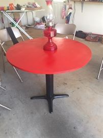 Table has been refinished. Perfect item for the man cave or for you ladies! Looks great!