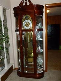 Fabulous Ridgeway Grandfather Clock with side Curios