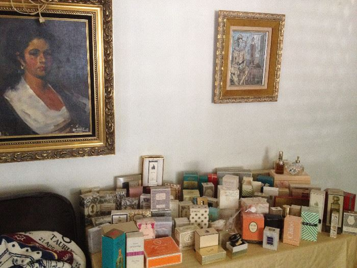 Rare perfume 40s, 50s, 60s, 70s, 80s, antique perfume bottles, crystal perfume bottles, original art oil paintings