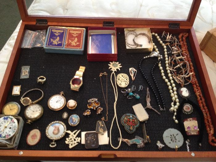 Ellen Corby's jewelry, fine and costume, watches, pocket watches, vintage pens