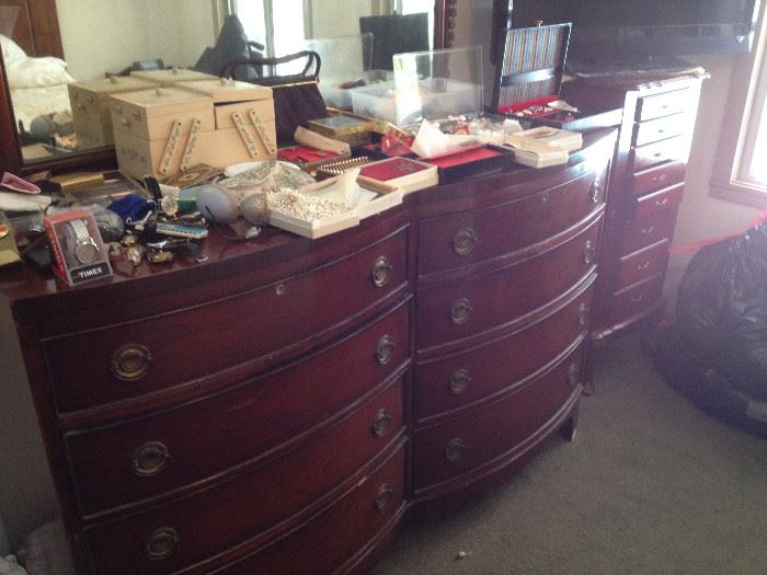 1940s Cherry wood dresser and nightstand, Ellen Corby's jewelry, fine and costume, watches, pocket watches, vintage purses
