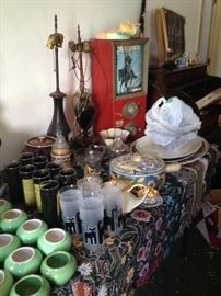 vintage lighting, antique candy machine, mexican pottery, art pottery, mid-century glassware