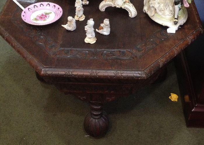 meissen, clocks, china, antique cherry wood table