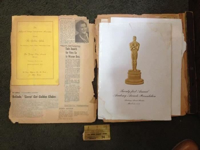 40s academy award ticket and program •	Autographs and Hollywood Memorabilia