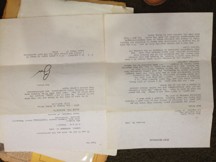 Signed letter to Ellen Corby from Burt Renyolds, hollwoody autographs