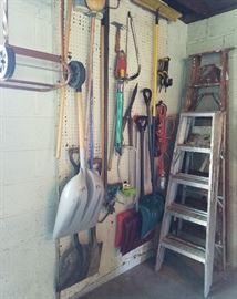 Ladders, tools, garage items