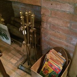 Fireplace tools; vintage comic books