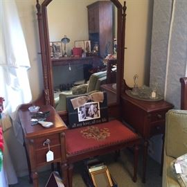 Antique vanity, mirror and inserted vanity bench