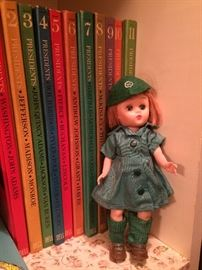 Vintage Girl Scout doll; children's books