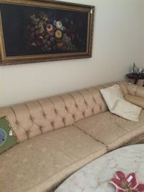 Vintage extra long sofa; marble top oval coffee table