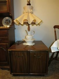 Two Door Cabinet/Table, Wash Basin, Pitcher Lamp