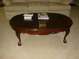 Beautiful carved coffee table..matches the end table and sofa table