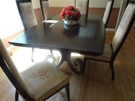 Mahogany DR Pedestal Table with 6 Chairs - 7' X 4' X 2.5'