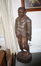 Carved Wooden 5 ½ Foot Tall Black Figure Sculpture