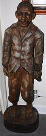 Carved Wooden 5 ½ Foot Tall Black Slave Art Sculpture dated 1887;