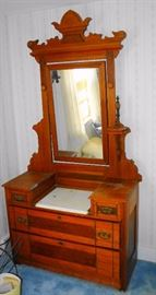 Victorian Dresser w/ Marble Top & Candle Stands