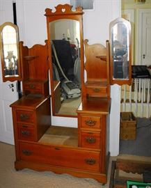 Fancy Cherry Dresser w/ Several Drawers & Side Beveled Mirrors