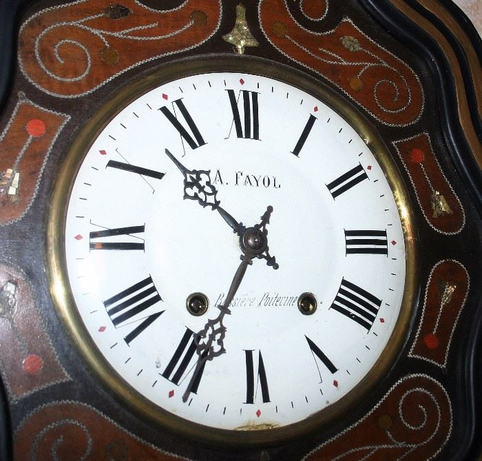 French Inlaid Wall Clock