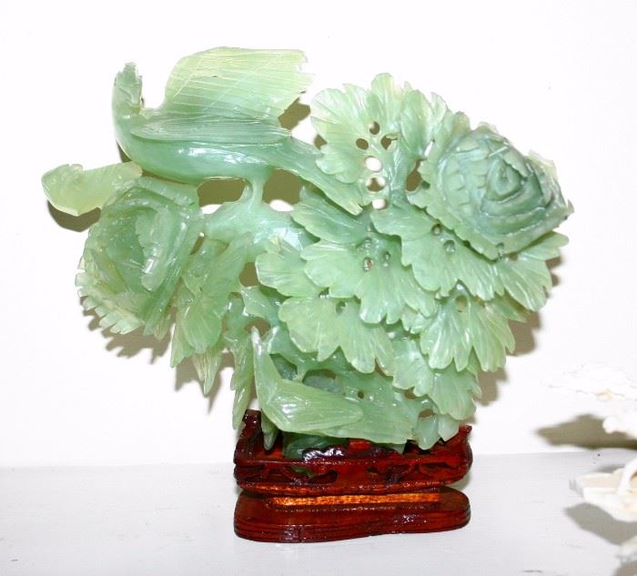 Carved Jade Flowers & Birds