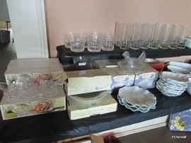Lots of glassware, some new in box, some vintage.