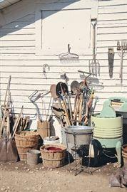 Gardening Tools, Vintage Washer/Wringer, Baskets, Metal Pails
