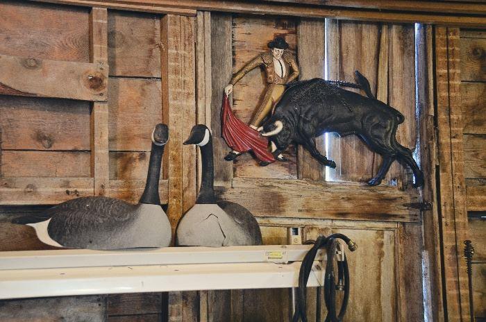 Geese Decoys, Grow Lamp Table, Matador and Bull Sign